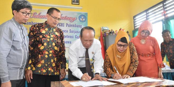 Rektor Universitas PGRI Palembang Kunjungan dan MoU Dengan Korwil Disdikpora dan Pariwisata Kecamatan Sembawa