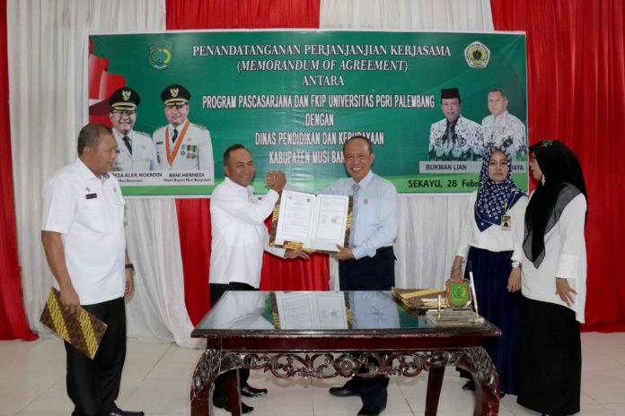 Tingkatkan Kualitas Guru, Pemkab Muba MoA dengan Universitas PGRI Palembang