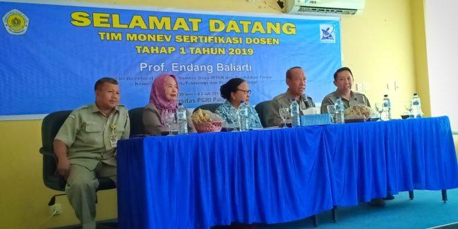 Tim Monev Sertifikasi Dosen Dari Kemenristikdikti Kunjungi Universitas PGRI Palembang
