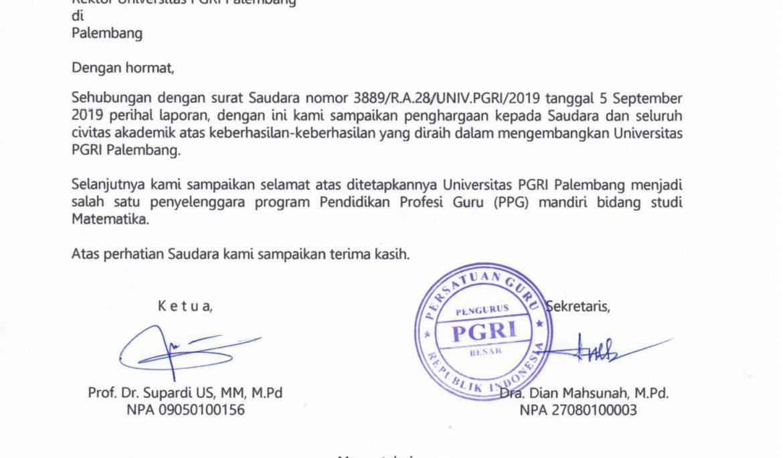 Ucapan Selamat Universitas PGRI Palembang