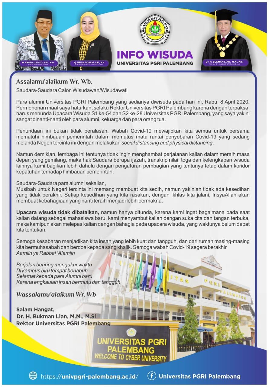 Dampak Pandemi Covid-19, Wisuda Universitas PGRI Palembang Ditunda