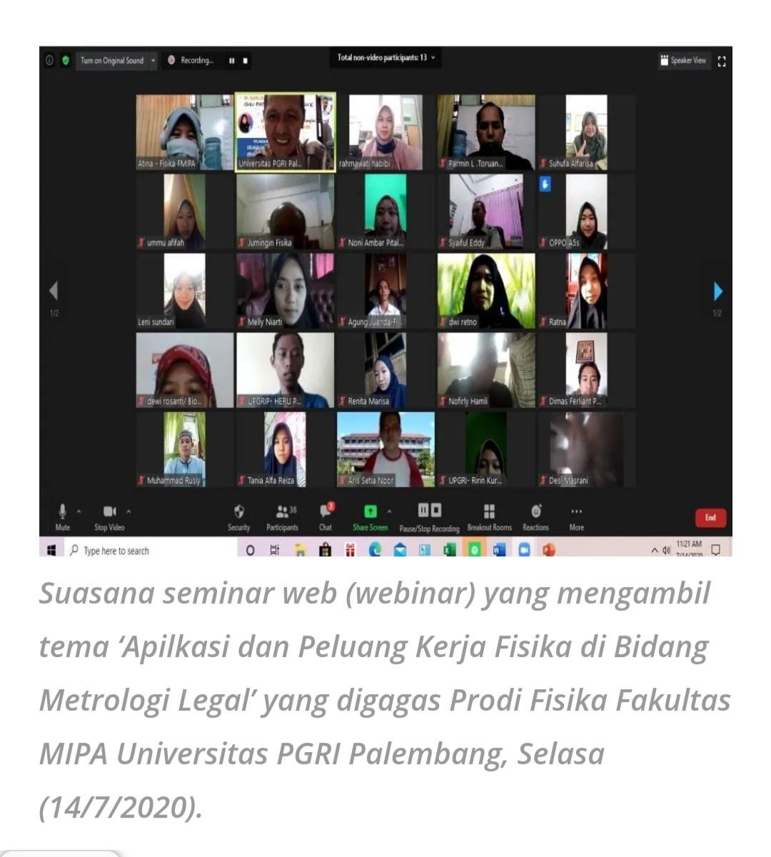 Peserta Antusias Ikuti Webinar yang Digagas Prodi Fisika Fakultas MIPA Universitas PGRI Palembang