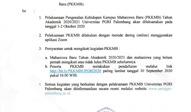 PENGUMUMAN PKKMB 2020 <a href=