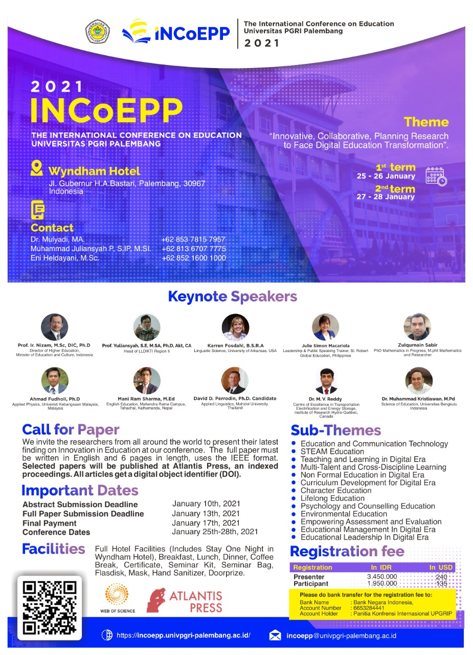INCoEPP The International Conference On Education Universitas PGRI Palembang